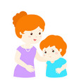 mother soothes crying son vector image