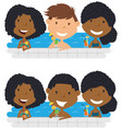 young multiracial teens relaxing and drinking vector image vector image