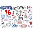 Sweet 16 party doodle set vector image