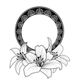 floral frame with lilies vector image vector image