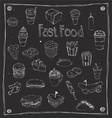 Fast Foods draw 25 Item vector image