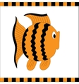 Funny orange fish with black stripes vector image