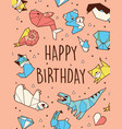 happy birthday origami card vector image