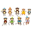 Happy cartoon monkey dancing party birthday vector image
