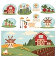 Village landscape with farm building vector image