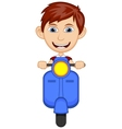 Little boy riding a scooter cartoon vector image