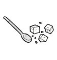 comic cartoon sugar lumps and spoon vector image