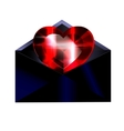 dark envelope and red heart vector image vector image