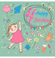 Birthday of the little girl 4 years vector image