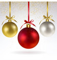 christmas balls and confetti of gold sparkles vector image