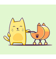 color character cat with baby carriage on vector image