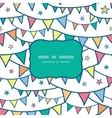Colorful doodle bunting flags frame seamless vector image