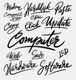 computer and update hand written typography vector image