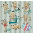 Nice vintage monkey set EPS8 vector image