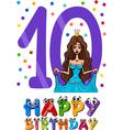 tenth birthday cartoon design vector image