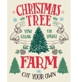 Christmas tree farm vintage sign vector image vector image