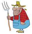 African American Farmer Man Carrying A Rake vector image vector image