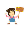 character cartoon holding an empty sign vector image