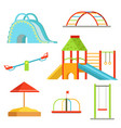 different equipment on playground for children vector image