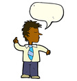 cartoon man making his point with speech bubble vector image