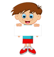 Cartoon boy holding blank paper vector image