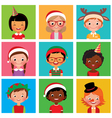 Children in holiday Christmas hats vector image