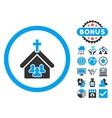 Church Flat Icon with Bonus vector image