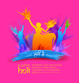 happy holi background for festival of color vector image