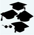Set graduation cap vector image