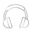 sketch draw headphones cartoon vector image