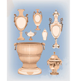 collection of decorative ceramic vases vector image vector image