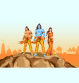 lord rama sita and laxmana in dussehra poster vector image vector image