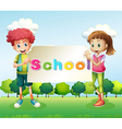 Two teenagers holding a signboard vector image vector image