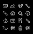 set line icons of motorcycle parts vector image