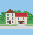large apartment house among trees vector image