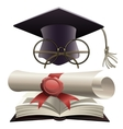 Bachelor hat with glasses and diploma vector image