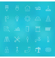 Construction Tools Line Icons Set over Blurred vector image vector image
