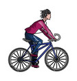 drawing guy riding bike with headphones vector image