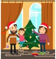 Family celebrates winter holidays vector image