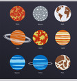 planets icons on dark background vector image