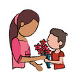 mother and son bouquet flowers vector image