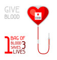 1 bag of blood saves 3 lives medical and vector image vector image