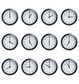Clock set timed at each hour on white background vector