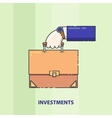 Hand with a suitcase of money or securities line vector image