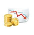 golden coins and descending graph vector image
