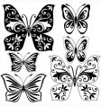 set black and white butterflies vector image