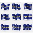 Set of Nauru flags in the air vector image