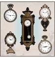 collection of retro clocks vector image