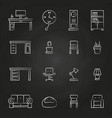 work room furniture icons on chalkboard vector image