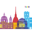 Turin skyline pop vector image